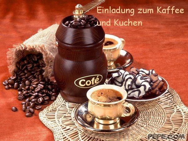 einladung zum kaffee und kuchen postkarte, Einladung