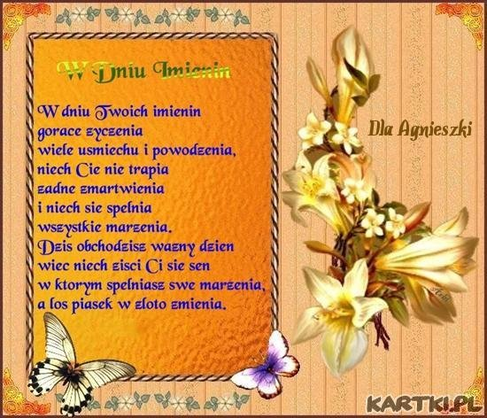 Życzenia dla Agnieszki