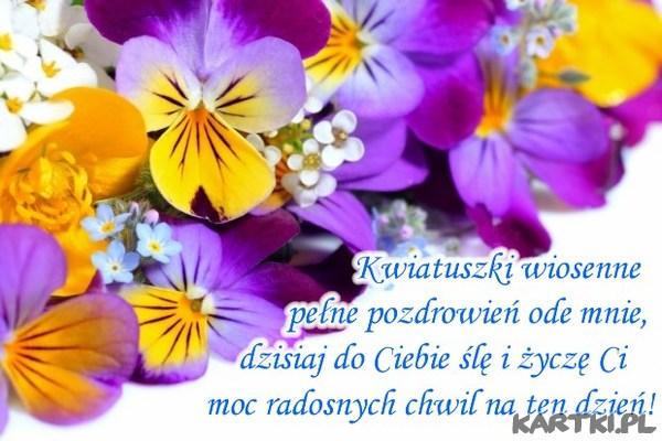Kwiatki wiosenne pełne pozdrowień ode mnie...