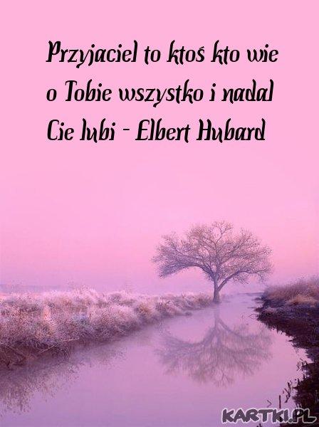 Przyjaciel to ktoś kto wie o Tobie wszystko i nadal Cie lubi - Elbert Hubard