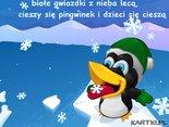 białe gwiazdki z nieba lecą, cieszy się pingwinek i dzieci się cieszą