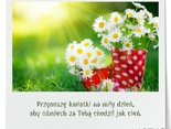 Przynoszę kwiatki na miły dzień,aby uśmiech chodził za Tobą jak cień.