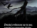 Uważaj zwłaszcza na tę noc, uważaj na wampiry, duchy i inne karaluchy.